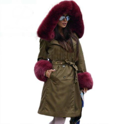 womens Real Fox Fur Hood Real Rex Rabbit Fur Lining Long Coatリアルフォックスファーフードファーロングコート