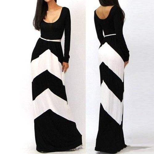 女性の新しいファッション夏の秋の長いドレスセクシーなベルト幾何学的なストライプの袖のモップフロアのドレスvesti