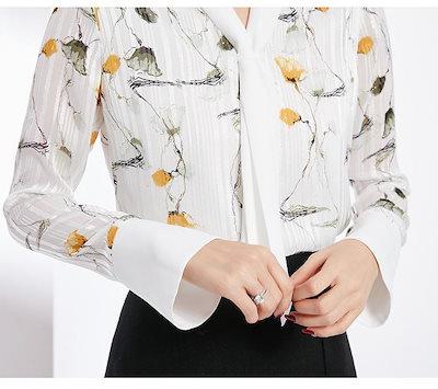 春 ブラウス 長袖 花柄 Vネック シフォン レトロ ゆったり 定番 人気 お出かけ 女子会 きれいめ 上品