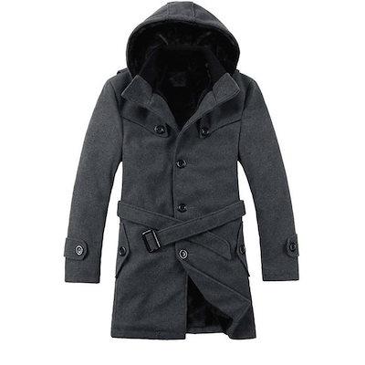 トレンチコート メンズ 秋冬 メンズコート メンズジャケット 綿入り 防寒 ブラック ダークグレー 大きいサイズ
