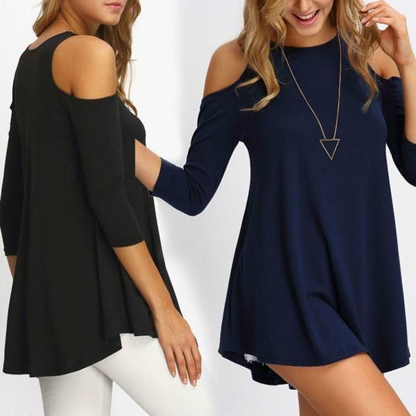 女性用カジュアルTシャツ半袖ラウンドネックストラップレスコージーシャツFemininasトップス