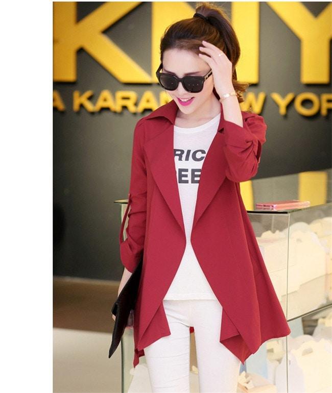 レディース アウター  トレンチコートジャケット 長袖 ジャケット 春コーデ/韓国ファッション ロング丈 スプリングコート ショートコート 通勤 オフィス ビジネス フォーマル アウター 上着 着痩せ