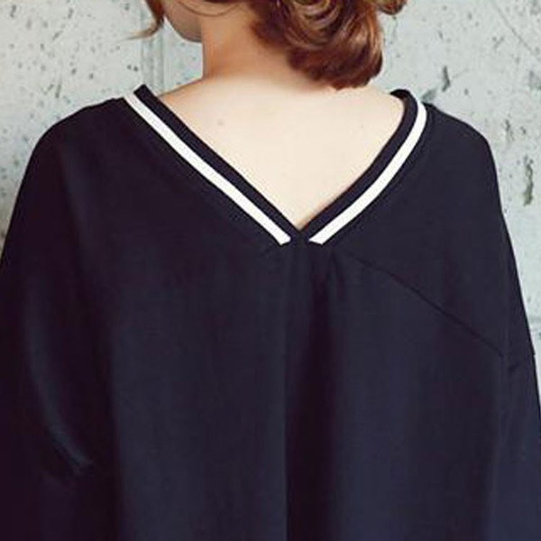 Vネック 半袖 Tシャツ チュニック ワンピース ロングTシャツ ロングT レディース