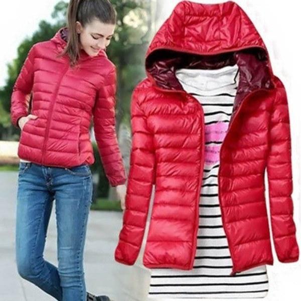 冬の女性ダウンジャケット軽量ソリッドカラースポーツパフコート
