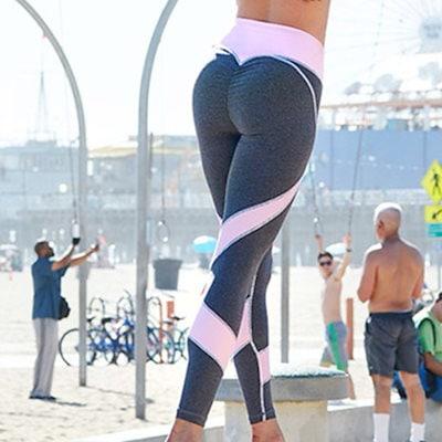 レディースファッションワークアウトレギンスフィットネススポーツジムランニングヨガアスレチックパンツカラーブロッキングタイツ