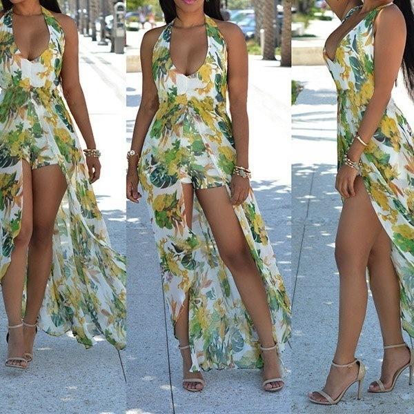 女性ファッションサマービーチセクシーなジャンプスーツフラワープリントホルターネックマキシロンパーユニークなロングドレス4