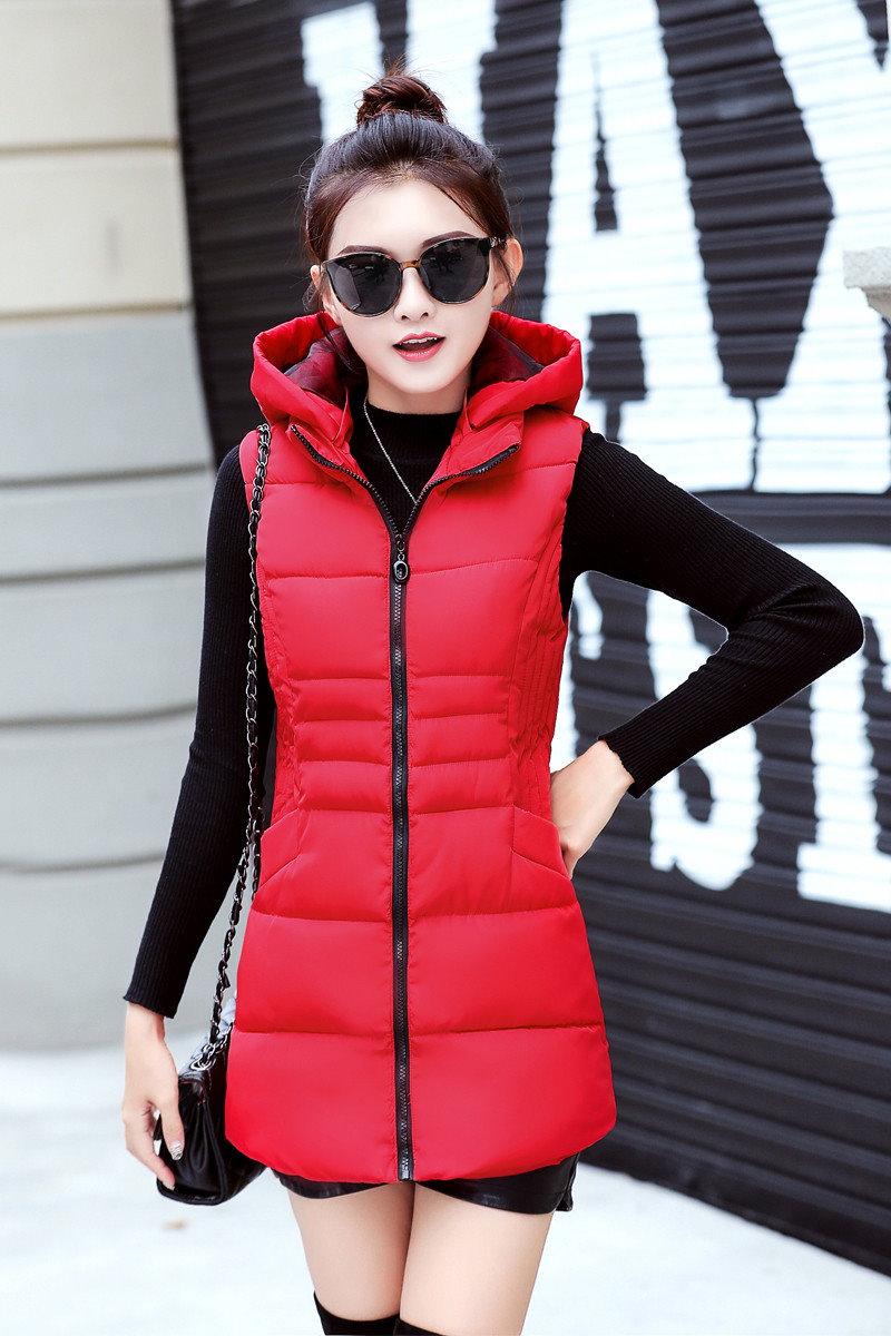 ロングベスト レディースファッション 帽子ベストジャケット韓国ファッションシンプル純色ロングタイプ中綿入りコート防寒秋冬新作大きいサイズアウター前開きチョッキベストルー