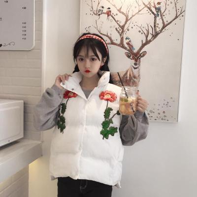 裏/秋冬/韓国風/若いもの/フラワーズ/花の刺繍/襟/短いスタイル/コットン/ベスト/女