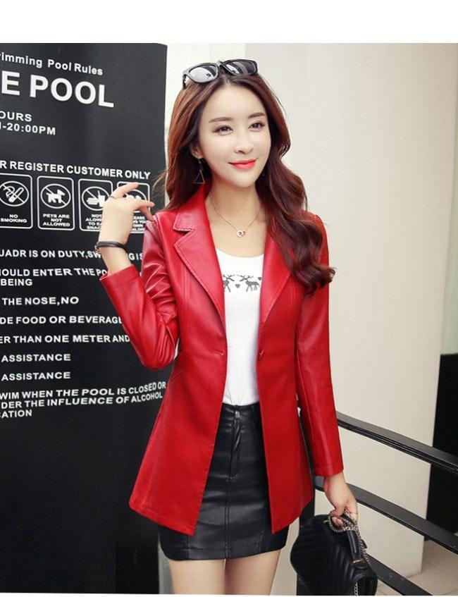 レディースファッション 女性 フェイクレザー 合皮 コート アウター ロング丈 ワンボタン 洗練なデザイン 通勤 お洒落 韓国風 OL 大きいサイズ