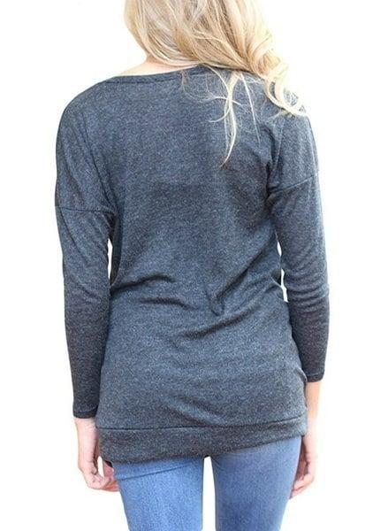 女性ファッションロングスリーブボタン装飾クルーネックチュニックシャツルーズブラウストップス