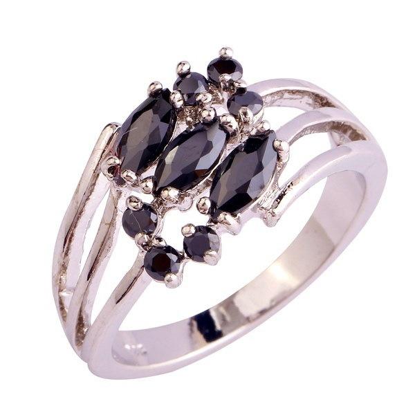 ファッションクラシック女性ブラックスピネル宝石ジュエリー925シルバーリングサイズ6-9