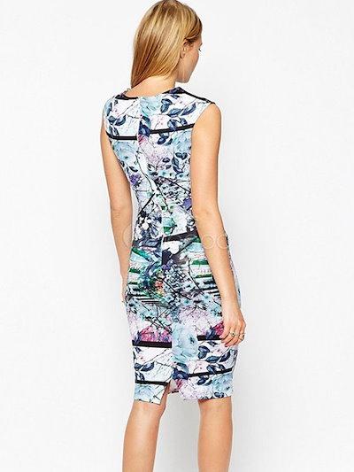 Multicolor Bodycon Dress Print Polyester Dress