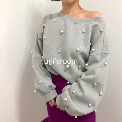 トレーナー バルーン袖 韓国ファッション レディース 上品カジュアル! 韓国■ パール輝く オルチャン 3色 オルチャンファッション