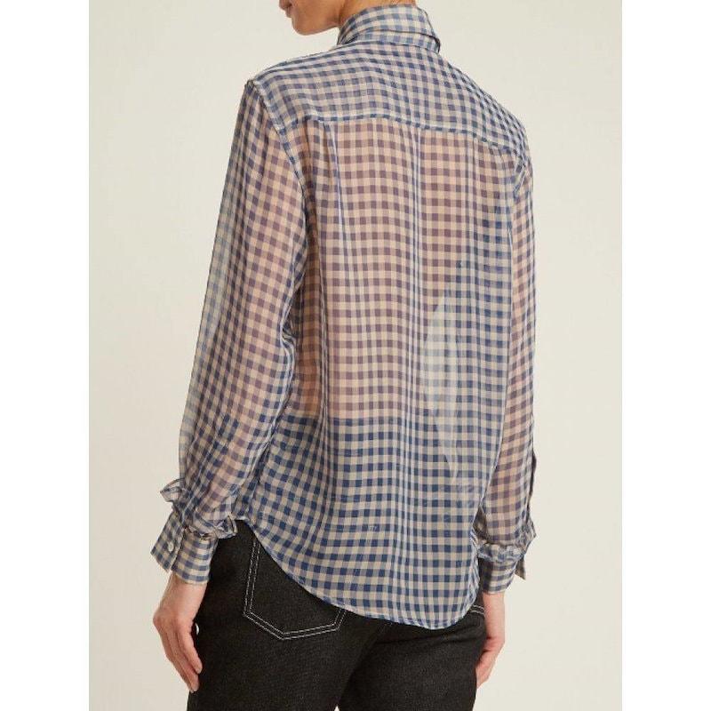 アレクサチャン レディース トップス ブラウス・シャツ【Frilled-placket sheer gingham shirt】Tonal-blue and light-grey