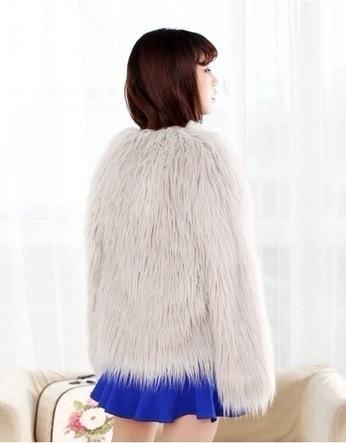 冬新作ロングスリーブフェイクファーコートウォッシュドウールコート女性プラスサイズ