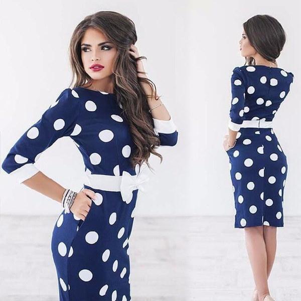 エレガントな正式なポロドットスリムドレス女性のファッションボウBodyconシフトペンシルパーティードレスLJ9219L