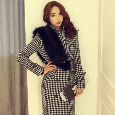 (FS-DEC-17) 韓国ファッション  グレンチェックトレンチコート/トレンチコート レディース