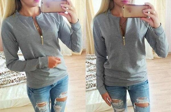 Autumn Winter Women Sweatshirts Zipper Long Sleeve Casual Blouse Cotton Solid Pullover Sweater Women
