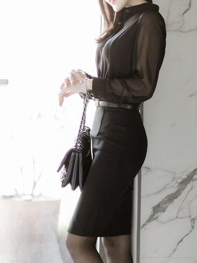 女性黒トップス 長袖シャツ セクシーな透視 OL 気質スタンドネック長袖シャツ
