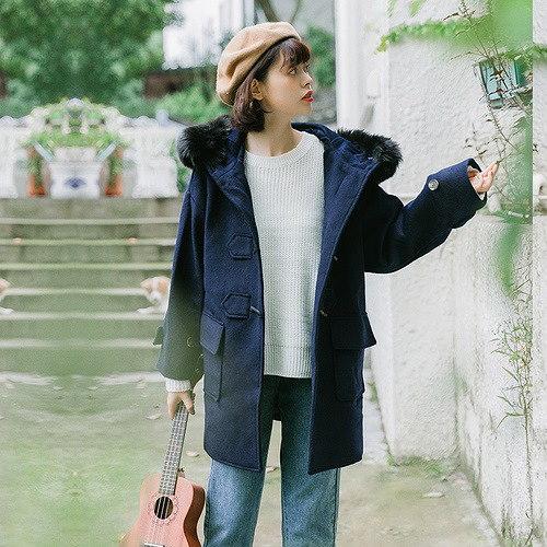 [55555SHOP]コート 防寒保暖 ゆったり 無地 フード付き モコモコネック 毛襟 韓国風 全2色