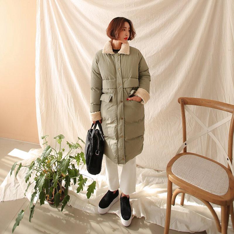 ♥送料 0円★PPGIRL_A956 Teddy padding coat / padding jumper / long padding / long coat / outer