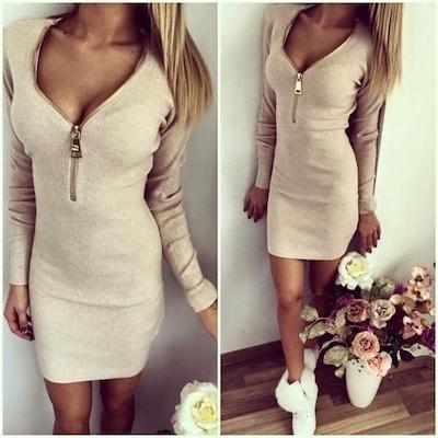 女性のセクシーなスリムVネックロングスリーブウォームドレス