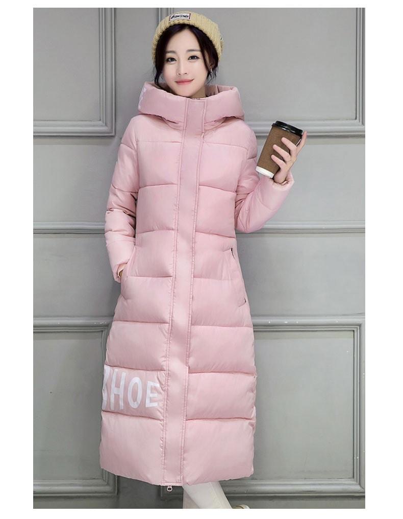 ファッション新しい秋冬スリム綿長い膝パッド入りジャケット厚い黒赤白