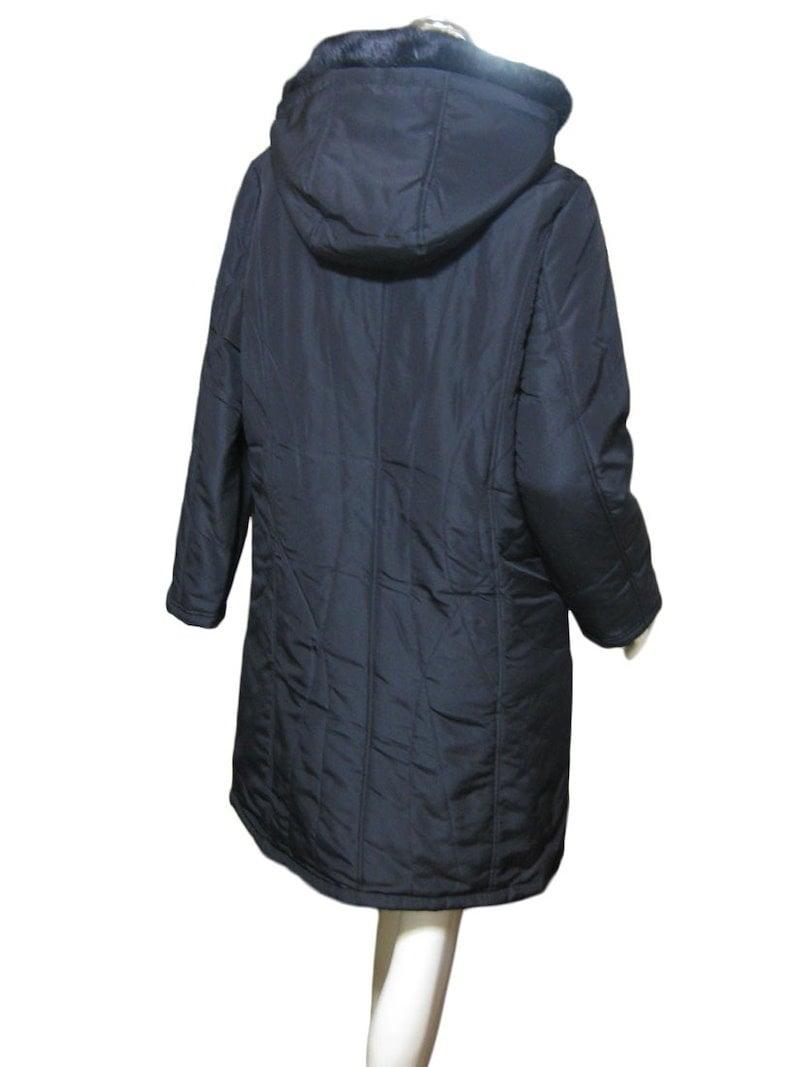 【ゆったりサイズ】ラビットファーフード付き裏総ヒョウ柄中綿ロングコート M/黒
