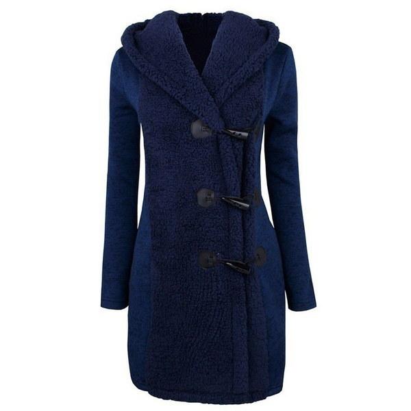 Winter Warm Turn-down Collar Long Coat Women Side Horn Button Slim Fit Overcoat Female Solid Windbre