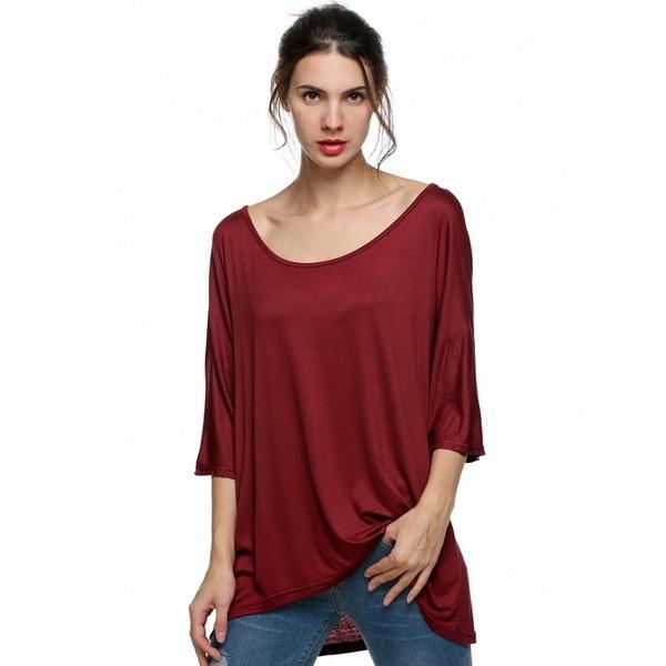 女性ラウンドネックルーズ半袖不規則なTシャツのトップ7_S