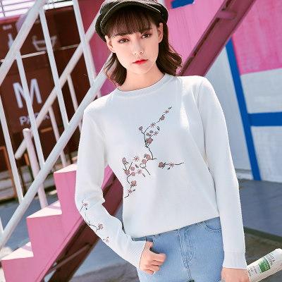 ニット レディーズ女性 ショートニット ゆったり クルーネック 梅の刺繍 長袖 秋冬 トップス ファッション