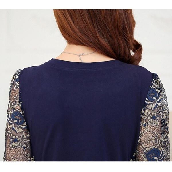 Plus Size XS-5XL Autum Winter Women s  Long Sleeve Slim Lace Cotton Tops  Blouse Shirts