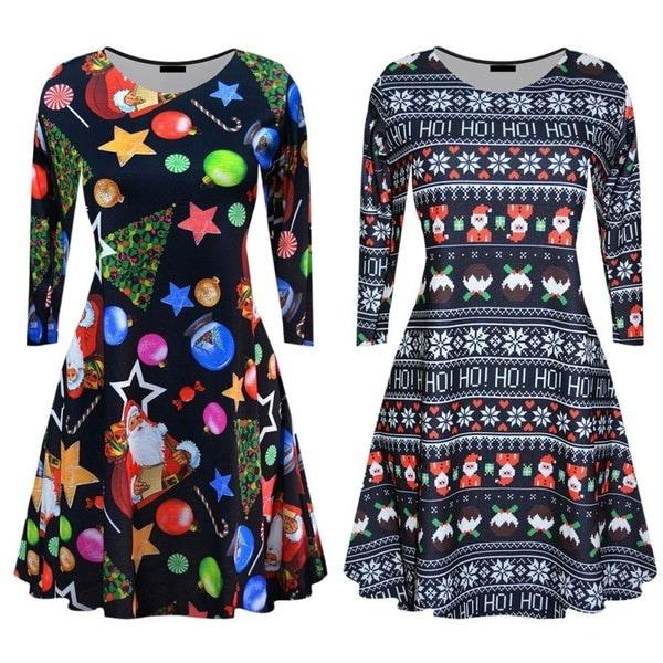 女性のカジュアルロングスリーブドレスの女性のクリスマスミニワンピースの衣装を印刷