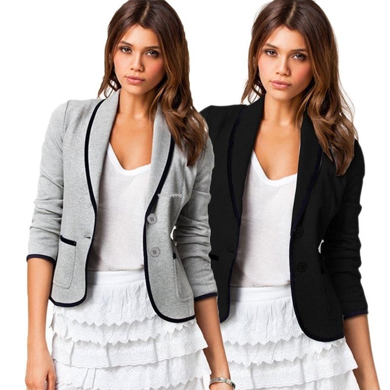 女性のファッションスリムターンダウンカラー長袖パッチワークブレザーコートジャケット