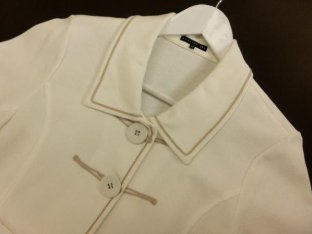 ATELIER SIX/アトリエシックス 七分袖ショートジャケット 38 ホワイト×ゴールドのステッチ【中古】