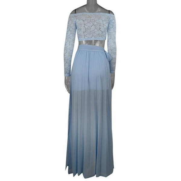 Super Hot Women Lace Long Sleeve Summer Tops+Chiffon Formal Party Cocktail Long Skirt