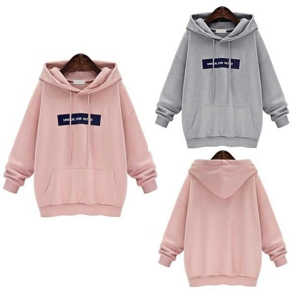 女性のファッション秋と冬のフード付きピュアカラーフリースビッグヤードセーターシャツルーズプルオーバーSpor