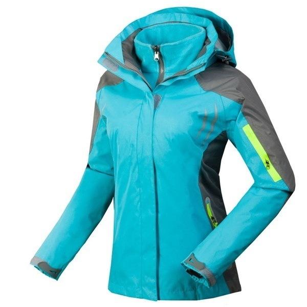 防水アウトドアジャケット女性の3イン1ハイキングキャンプスキースノーボードコート