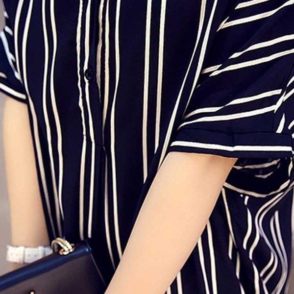 スキッパーシャツ ロング丈 スキッパー シャツ ワンピース Vネック シャツ ワンピース チュニック フェミニン 通勤 OL風 レディース