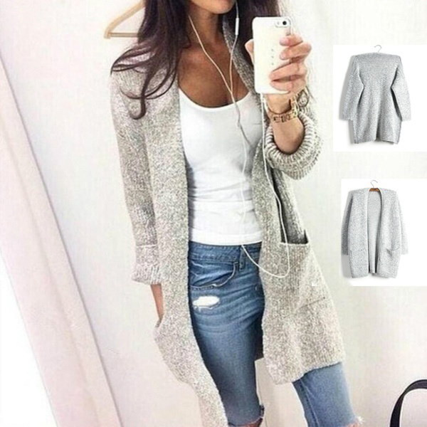 Fashion New Womens Oversized Loose Long Sleeve Knitted Sweater