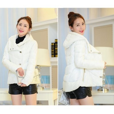 Fashion Slim Parkas Collarless Long Sleeves Pure Color Hooded Dovetail Down Jacket Coat for Women