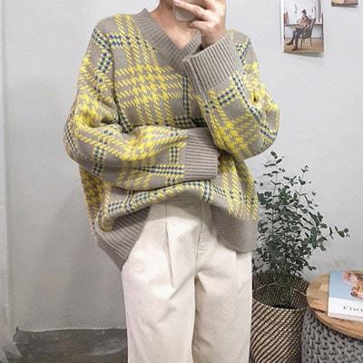 タータンチェックブイネク・ニット★韓国ファッション★ブイネク・ニット★チェックパターンニット