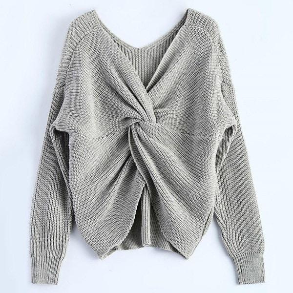 2017新しい3色のVネックツイストバックセーター女性ジャンパープルオーバー長袖ニット