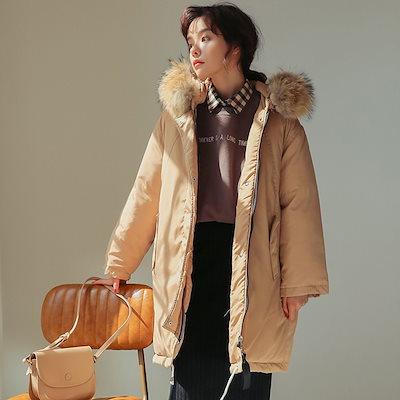 厚く暖かい綿の服女性秋冬2018ロングコットンコート潮の緩い大きな髪の襟の帽子の新しい韓国語版