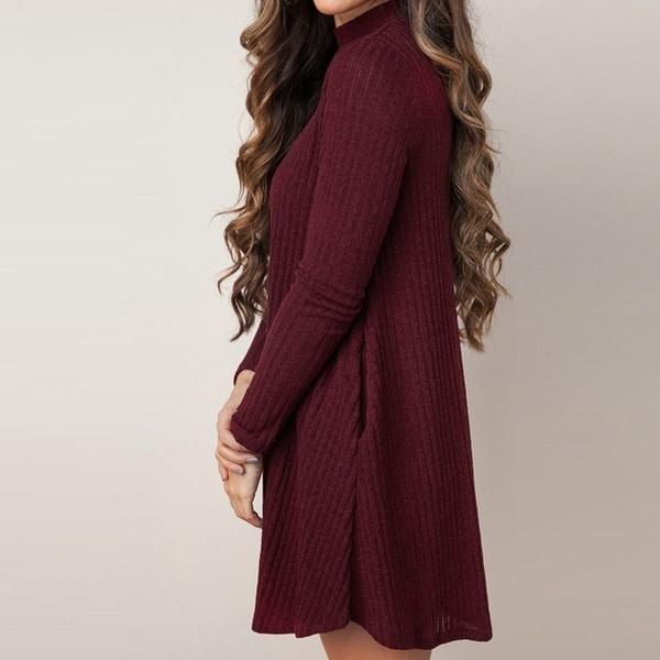 ファッション女性のO  - ネックロングスリーブソリッドポケットラインセータードレス