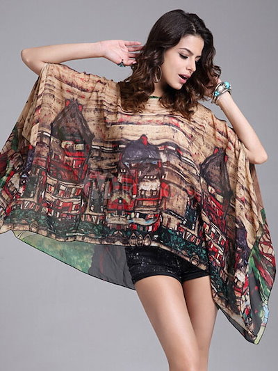 Multicolor Chic Blouse Print Oversized Chiffon Blouse