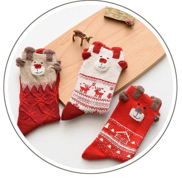 女性のクリスマスエルクデザインカジュアルニットウールソックス暖かいエルククリスマスソックス冬(カラー:Multicolo