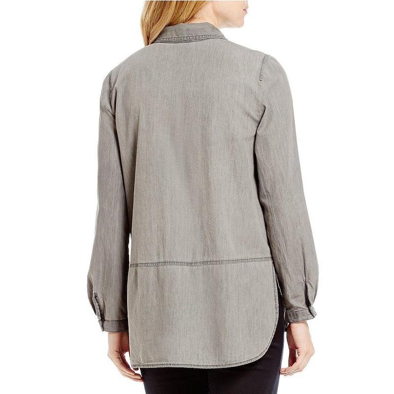 イントロ レディース トップス ブラウス・シャツ【Intro Petite Roll-Tab Sleeve Denim Floral Embroidered Button Front Shirt】St