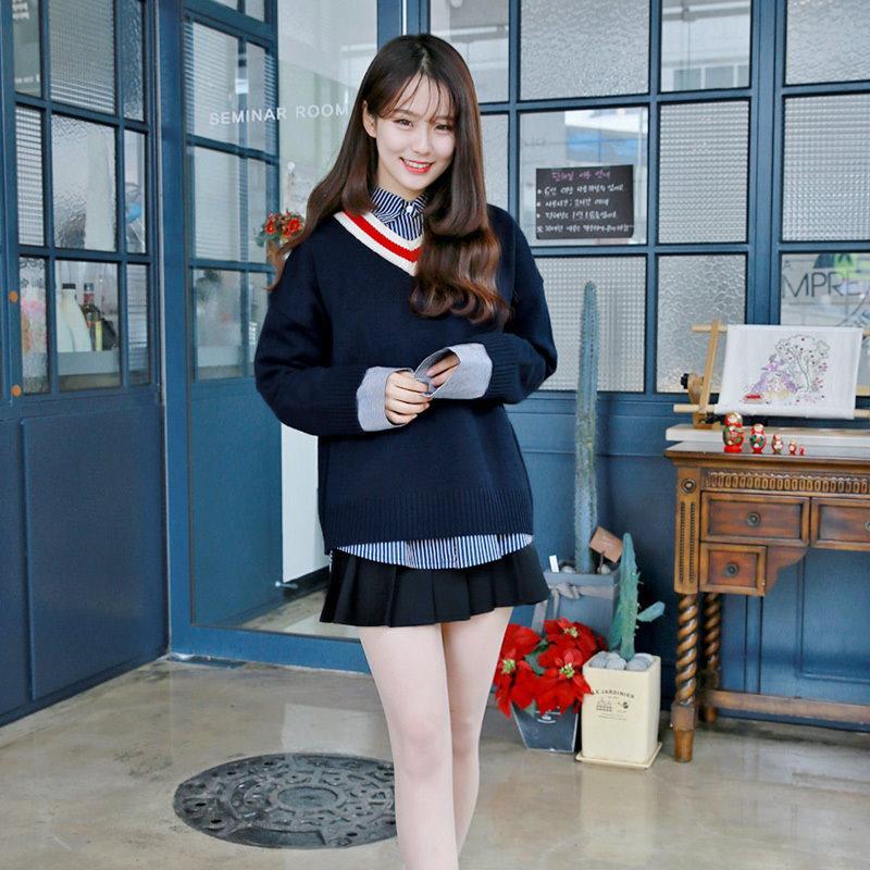 【GOGOSING】配色Vネックルーズ7Gニットトップス 韓国ファッション 韓国ファッション ニット ニットセーター  P000BTNX