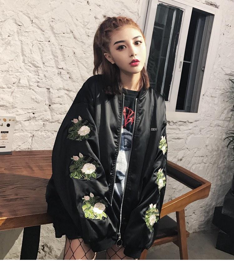 丝绸刺绣花卉缎面夹克外套、棒球服男女